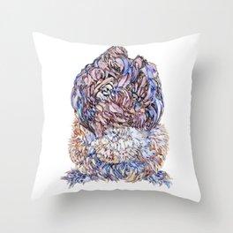 Silkie Chicken Fluffy Bum Throw Pillow