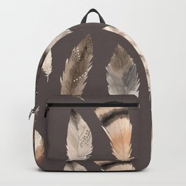 Beautiful Watercolor Feathers on Grey in Cream No. 4 Backpack
