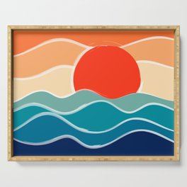 Retro 70s and 80s Color Palette Mid-Century Minimalist Nature Waves and Sun Abstract Art Serving Tray