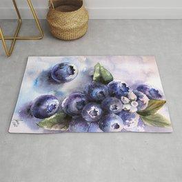 Watercolor Blueberries - Food Art Rug