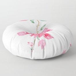 red  pink  bougainvillea watercolor Floor Pillow