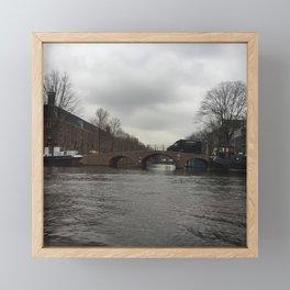 Amsterdam river bridge on a cloudy rainy day Framed Mini Art Print