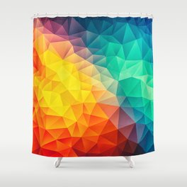 Abstract Polygon Multi Color Cubism Low Poly Triangle Design Shower Curtain