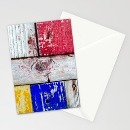 Funny Neoplasticism Style Art Of Grunge Wooden Planks Stationery Cards