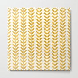 Scandinavian Mid Century Pattern Yellow Metal Print