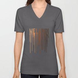 Melanin - Black Pride - Black and Proud - Drippin Melanin Unisex V-Neck