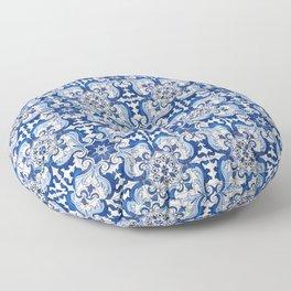 Blue Azulejo Tile Portuguese Mosaic Pattern Floor Pillow