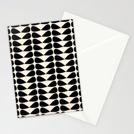 Mod Leaves Mid Century Modern Abstract Pattern in Black and Almond Cream Stationery Cards