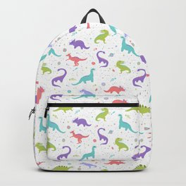 Space Dinosaurs on White Backpack