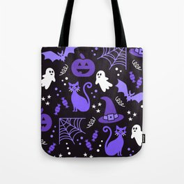 Halloween party illustrations purple, black Tote Bag