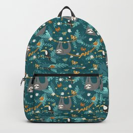 Sloth Hanging in a Teal Forest Backpack