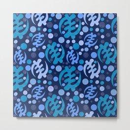 Gye Nyame- shades of blue Metal Print