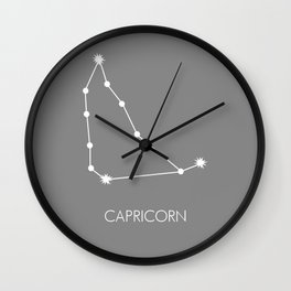 CAPRICORN (WHITE-GREY STAR SIGN) Wall Clock