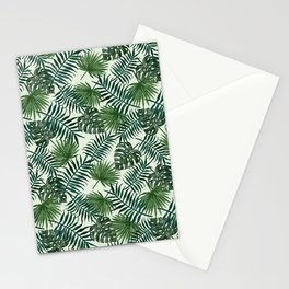 Tropical ivory green monster leaves floral Stationery Cards