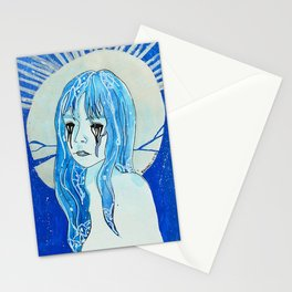 The moon broke Stationery Cards