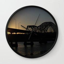 Julian Dubuque Bridge At Sunset Wall Clock