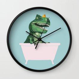 Playful T-Rex in Bathtub in Green Wall Clock