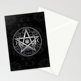 Pentagram Ornament - Silver and Black Stationery Cards
