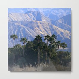 Luscious Palm Trees Framed By Breathtaking Mountains Metal Print