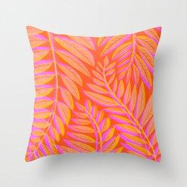 Hot Tropics - Orange Pink Tropical Vines Throw Pillow