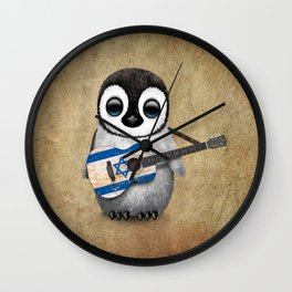 Baby Penguin Playing Israeli Flag Acoustic Guitar Wall Clock