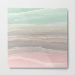 Pastel Watercolor Waves Abstract #1 #painting #decor #art #society6 Metal Print