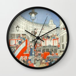 "William Heath Robinson - ""The Spirit of Christmas in Regent Street"" (1928) Wall Clock"