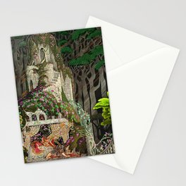 The Prince Looks down on Sleeping Beauty in the Garden of Delights by Kay Nielsen Stationery Cards