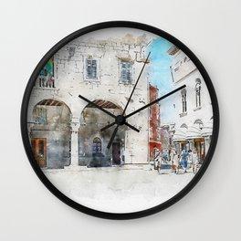 Aquarelle sketch art. The Town Hall City Palace Pula Croatia Wall Clock