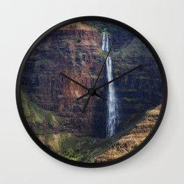 A Waterfall on the Na Pali Coast painterly Wall Clock