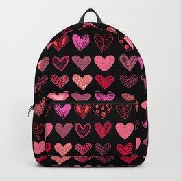Many hearts on black Backpack
