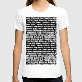 Famous City pattern black & White T-shirt