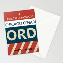 Chicago O'hare Baggage tag Stationery Cards