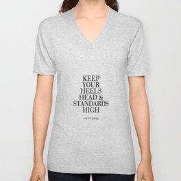 Keep Your Heels,Head And Standards High Printable Art Fashion Wall Art Fashion Decor Fashion Print Unisex V-Neck