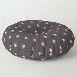 Pink stars pattern on black background Floor Pillow