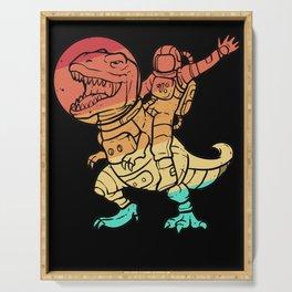 Dinosaur Astronaut Space Galaxy Retro Serving Tray