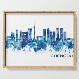Chengdu China Skyline Blue Serving Tray