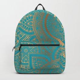 Burnt Gold Teal Mandala Backpack