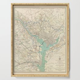 Vintage Washington DC Defenses & Forts Map (1895) Serving Tray