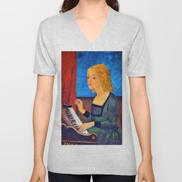Chartres Museum Music, Saint Cecilia On The Harpsichord - Paul Serusier Unisex V-Neck