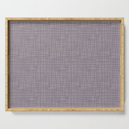 Dark Lavender - Muted Plum and Lilac Grunge Basketweave Line Pattern Serving Tray