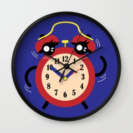 Dancing Red Alarm, Time Is Running Out Blue BG Wall Clock