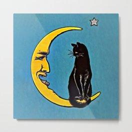 Black Cat & Moon Metal Print