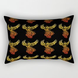 Rising From The Ashes Detailed Phoenix Flame Ombre Rectangular Pillow