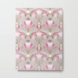 Rose Pink, Grey and Gold Art Deco Metal Print