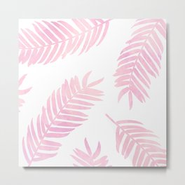 Pink Palm Leaves     White Background Metal Print