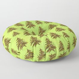 Sparkly Gold Christmas tree on abstract green paper Floor Pillow