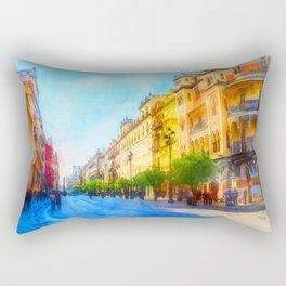 Seville, Avenida Constitucion - Watercolor Rectangular Pillow