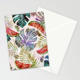 Tropical foliage red green watermelon fruit leaves pattern Stationery Cards