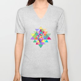 Sri Yantra triangles Unisex V-Neck